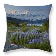 Lupine And Mount Elias Throw Pillow