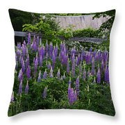 Lupine By The Fence Throw Pillow