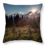 Lupine Field Sunstar Throw Pillow