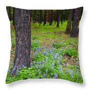 Lupine Forest Throw Pillow