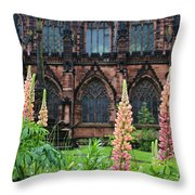 Lupines At Chester Cathedral 6805 Throw Pillow