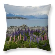 Lupins By The Lake Throw Pillow
