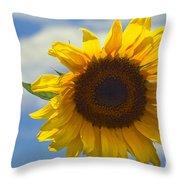 Lus Na Greine - Sunflower On Blue Sky Throw Pillow
