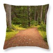Lush Green Forest At Cheakamus Throw Pillow