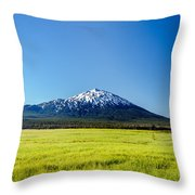 Lush Green Meadow And Mount Bachelor Throw Pillow