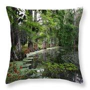 Lush Swamp Vegetation Throw Pillow