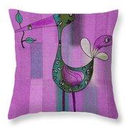 Lutgarde's Bird - 061109106-purple Throw Pillow