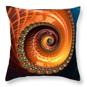 Luxe Fractal Spiral Brown And Blue Throw Pillow
