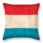 Luxembourg Flag Vintage Distressed Finish Throw Pillow