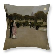 Luxembourg Gardens At Twilight Throw Pillow