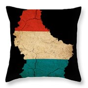 Luxembourg Grunge Map Outline With Flag Throw Pillow