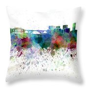 Luxembourg Skyline In Watercolor On White Background Throw Pillow