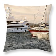 Luxury Boats At St.tropez Throw Pillow