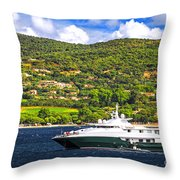 Luxury Yacht At The Coast Of French Riviera Throw Pillow