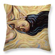 Lying At The Sand Throw Pillow