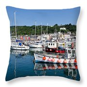 Lyme Regis Harbour On A July Morning Throw Pillow