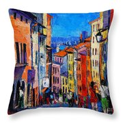 Lyon Colorful Cityscape Throw Pillow