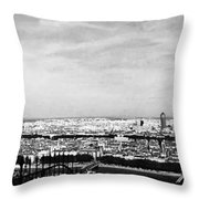 Lyon From The Basilique De Fourviere-bw Throw Pillow