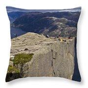 Lysefjord With Prekestolen Throw Pillow