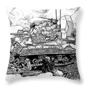 M 4 Sherman Break Out From Normandy Throw Pillow
