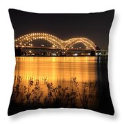 The Hernando De Soto Bridge M Bridge Or Dolly Parton Bridge Memphis Tn  Throw Pillow