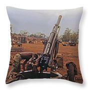 M102 105mm Light Towed Howitzer  2 9th Arty At Lz Oasis R Vietnam 1969 Throw Pillow