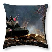 M48 Tanks An Tankers On The Job In Korean War Throw Pillow