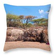 Maasai Huts In Their Village In Tanzania Throw Pillow