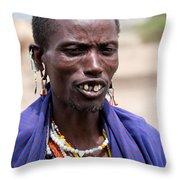 Maasai Man Portrait In Tanzania Throw Pillow