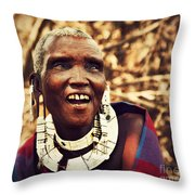 Maasai Old Woman Portrait In Tanzania Throw Pillow