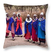Maasai Women In Front Of Their Village In Tanzania Throw Pillow