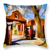 Mabel's Gate As Oil Painting Throw Pillow