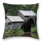 Mabry Mill - Blue Ridge Mountains Throw Pillow