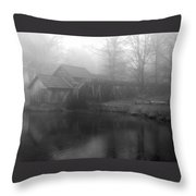 Mabry Mill In Fog Bw Throw Pillow
