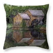 Mabry Mill Oil On Slate Throw Pillow