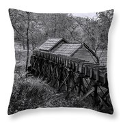 Mabry Mill Water Shute In Black And White Throw Pillow