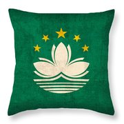 Macau Flag Vintage Distressed Finish Throw Pillow