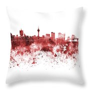 Macau Skyline In Red Watercolor On White Background Throw Pillow