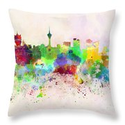 Macau Skyline In Watercolor Background Throw Pillow