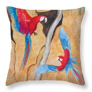 Macaw Claylick Throw Pillow
