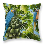 Macaw Parrots In Papaya Tree Throw Pillow