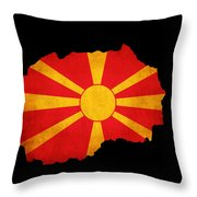 Macedonia Grunge Map Outline With Flag Throw Pillow