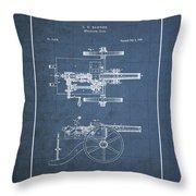 Machine Gun - Automatic Cannon By C.e. Barnes - Vintage Patent Blueprint Throw Pillow