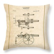 Machine Gun - Automatic Cannon By C.e. Barnes - Vintage Patent Document Throw Pillow