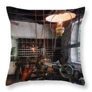 Machine Shop With Lantern Throw Pillow
