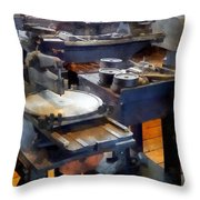 Machine Shop With Punch Press Throw Pillow