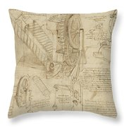 Machines To Lift Water Draw Water From Well And Bring It Into Houses From Atlantic Codex  Throw Pillow