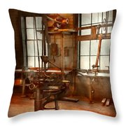 Machinist - A Lone Grinder  Throw Pillow