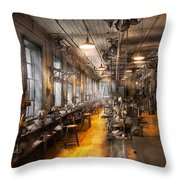 Machinist - Santa's Old Workshop Throw Pillow by Mike Savad