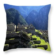Machu Picchu And Urubamba Canyon Throw Pillow